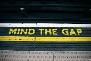 "Subway image with text ""Mind the Gap"""